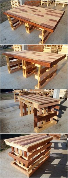 Artful designing of the pallet table creation is given out here! See how it looks! This creation is being adjusted with the textured impact pattern work that is being innovatively set wood pallet attachment. You would be loving out to make it place in your house.