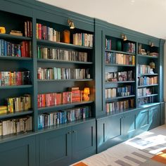 old school adjustable shelving system and beaded panels all done on cnc, water based satin sprayed finish, birch ply shelves Alcove Cabinets, Home Library Design, Birch Ply, Shelf Design, Adjustable Shelving, Aqua, Teal, Turquoise, Old School