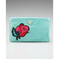 Prada Rose-Applique Clutch ($750) ❤ liked on Polyvore