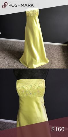 """Yellow prom dress New with extra beads/straps.  Bridal / Formal wear store close out - might was been tried on but never """"worn"""" Dresses Prom"""