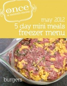 Freezer mini menu for 5 days worth of meals: grocery lists, instructions, recipe cards and more.