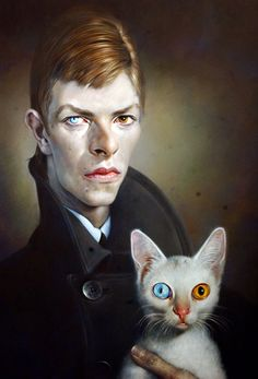 "David Bowie and cat by Sebastian Kruger. I love this even though I know that Bowie's eyes aren't really different colors (his pupil is permanently dilated on one side from a ""fight from a romantic rivalry in his teens""), I guess that's what artistic license is all about though."