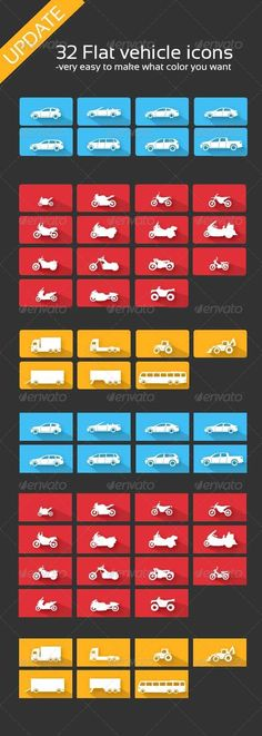 Vehicle Icons — Photoshop PSD #bus #silver • Available here → https://graphicriver.net/item/vehicle-icons/4215070?ref=pxcr