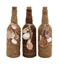 "Set 3 Glass Message Bottle 14"" Sea Shell Twine Rope Ocean Beach Nautical Decor"