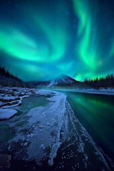 This Aurora Boreal was captured in the northern Ogilvie Mountains, Yukon Territory, Canada.