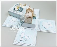 Blog sklepu CraftyMoly : CHRZEST - chłopięcy exploding box Craft Cards, Exploding Boxes, Baby Crafts, Cardmaking, Decorative Boxes, Scrapbooking, Blog, Handmade, Design