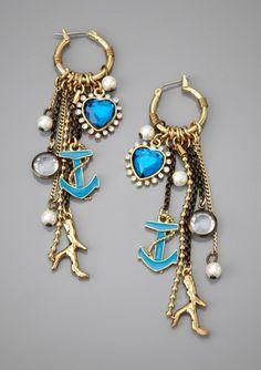 BETSEY JOHNSON Multi-Charm Fringe Earrings