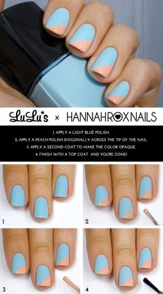 33 Cool Nail Art Ideas  - Blue and Peach Angle Tip Step by Step Nail Design Tutorial