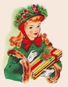 A 63 pieces jigsaw puzzle from Jigidi Vintage Christmas Images, Retro Christmas, Christmas Pictures, Christmas Girls, Vintage Greeting Cards, Vintage Postcards, Estilo Pin Up, Christmas Past, Christmas Greetings