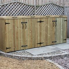 Keep 4 wheelie bins hidden from view in this Bellus Quad Wheelie Bin Storage Chest. Made in the UK from pressure treated timber. Triple Bin Store, Quad, Garden Waste Bags, Bin Shed, Pressure Treated Timber, Storage Bins, Storage Chest, Storage Ideas, Garden Cottage