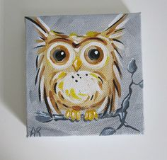 Owl Original Canvas Painting- Owl on a Tree Branch- 4x4 Acrylic Painting