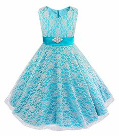 iEFiEL Kids Big Girls V-Neck Lace Flower Dress Graduation Pageant Ball Gown - http://www.darrenblogs.com/2016/12/iefiel-kids-big-girls-v-neck-lace-flower-dress-graduation-pageant-ball-gown/