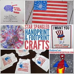 15 last minute handprint craft ideas for the 4th of July: DIY shirts, American flags, Uncle Sam and a canvas keepsake.