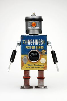 A perfect gift for a man who collects pistons Vintage Robots, Retro Robot, Vintage Toys, Create Your Own Robot, Tin Can Robots, Tin Can Alley, Cricket Crafts, Arte Robot, Space Toys