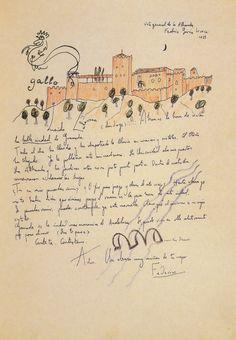 Federico Garcia Lorca Carta con vistas de la Alhambra