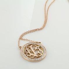 Or rose diamant ceinturés ronde Monogram par SorellaJewelry sur Etsy