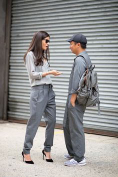 """Barbara Martelo And Tommy Ton """"Oh no, this is most certaininly not #twinning today. Don't you see all these cameras? Go home and change."""" Photo: YoungJun Koo/I'M KOO"""
