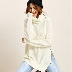 White turtleneck sweater with side zipper