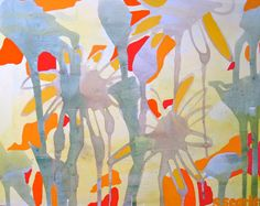 """16"""" x 20"""" Original Poured Acrylic Painting on Canvas - Bright Yellow Flowers"""