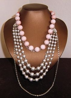 In Vintage Pink and Gray Multistrand Focal Necklace by infoerica, $30.00