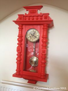 Upcycled Painted Antique Viennese Wall Clock in Valspar 'High Voltage' Paint & Websters Chalk Paint Powder. Waxed with Fiddes & Sons Supreme Wax Polish