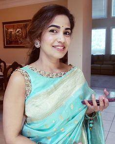 Chanderi Silk Saree, Silk Sarees, Sari Blouse, Sleeveless Blouse, Blouse Designs Silk, Anarkali Dress, Indian Sarees, Indian Outfits, Bridal Collection