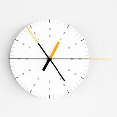 Ordinary Purposes Clock: Screen printed aluminium dial & acid etched steel hands, made in England. Aesthetic dictated by the disproportionate second hand. A German made high torque movement. Designed at Hundreds Tens Units in David Horan and Tom Nelson. Minimal Design, Modern Design, Tens And Units, Best Online Stores, Kitchen Clocks, Cool Clocks, Inspiration Wall, Modern Retro, Lost & Found