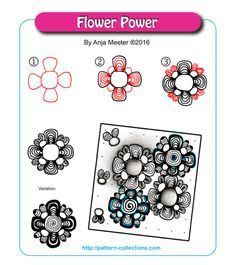 Flower Power tangle pattern by Anja Meeter PatternCollections.com