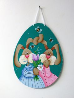 Spring Bunnies, Love Bunnies, Bunnies with Flowers, Folk Art Bunnies, Easter Sign, Large Wood Egg, Tole or Hand Painted, Hanging Easter Art by barbsheartstrokes on Etsy