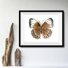 Brown Butterfly art print butterfly watercolor print Nature