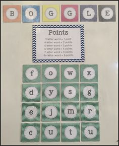 As a kid I always loved playing BOGGLE, and as a teacher I love it even more, it& educational and fun! I designed this wall display a li. Classroom Board, Middle School Classroom, Classroom Ideas, Bulletin Boards, School Displays, Classroom Displays, School Resources, Teacher Resources, Teaching Supplies