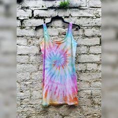 Rainbow Dress Pastel Tie Dye Mini Dress to fit UK Size 14 or US size 10 Winter Festival Hippie Bohemian Dresses