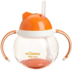 Lansinoh mOmma Straw Cup with Dual Handles, Orange