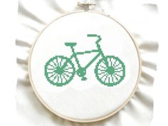 Green Bike Easy Counted Cross Stitch Pattern Beginner by GreatHome, $2.00