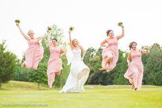 Bride and Brides Maids Jumping. Dunston Hall, Norfolk. www.jameskphoto.co.uk