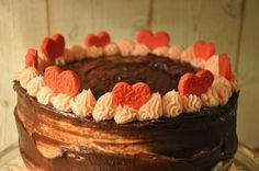 Mon gâteau pour la Saint-Valentin, chocolat/framboise !
