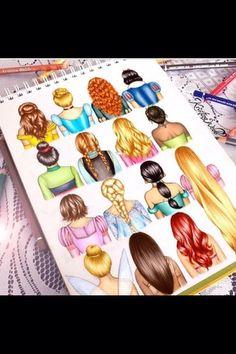 princess hair drawing