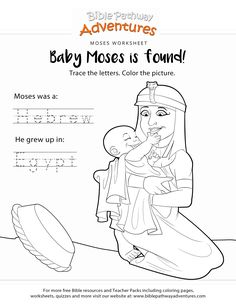 Free Bible copywork and coloring page: Baby Moses! Printable Bible lesson for Homeschoolers, Sunday and Sabbath School students, and teachers and parents. Kids Sunday School Lessons, Sunday School Crafts For Kids, School Ideas, Bible Resources, Bible Activities, Free Bible Coloring Pages, Coloring Books, Learn Hebrew Online, Baby Moses