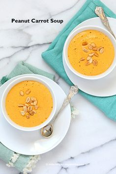 This Vegan Carrot Peanut Soup is super simple and gets the appetite going. Its like a peanut butter sauce made into soup. Dairy-free Gluten-free Recipe