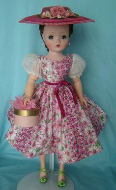 Pink daisy print dress, 1955