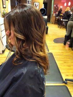 Ombre color, chocolate brown base with peanut butter ombre highlights