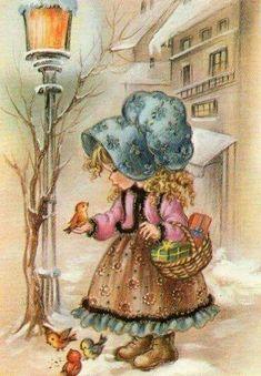 Items similar to Cute girl Bonnet style on Etsy Decoupage Vintage, Decoupage Paper, Vintage Cards, Vintage Postcards, Sarah Key, Holly Hobbie, Cute Images, Cute Illustration, Bird Art