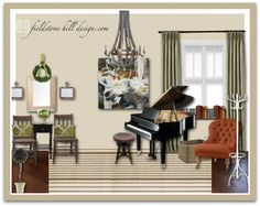 a formal foyer that includes a warm welcome and a place to create music.   eDesign by fieldstonehilldesign.com