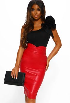 Make a big impression in this red leather midi skirt - available with Next Day Delivery at PB! Velvet Midi Skirt, Bodycon Midi Skirt, Leather Midi Skirt, Satin Midi Skirt, Black Midi Skirt, Pink Boutique Uk, Going Out Outfits, Red Skirts, Black Heart