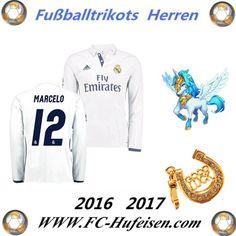 Neue Fussball Trikots Real Madrid Weiß Lange Ärmel (MARCELO 12) Heim Saison 2016 2017 Billig