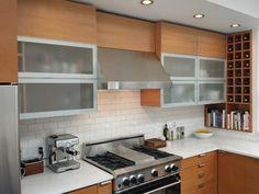 Glen Park Residence - contemporary - kitchen - san francisco - by Barker Wagoner Architects. LOVE GLASS UPPER CABINETS!❤️❤️❤️
