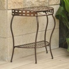 International Caravan Santa Fe Iron Nailhead 2-Tier Half Moon Table in Bronze