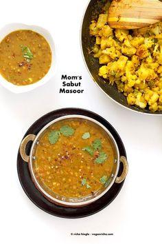 Sabut Masoor Ki Daal - Lentil Soup - Vegan Richa
