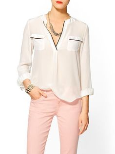This sophisticated ZOA Silk Pajama Blouse is too chic to not have in your spring wardrobe! Shop for it now on @Piperlime®
