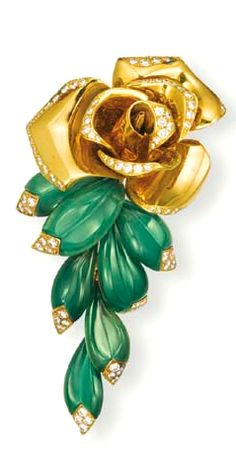 A GREEN CHALCEDONY, 18K GOLD AND DIAMOND 'ROSA' CLIP BROOCH, BY CARTIER  Designed as a polished gold rose with brilliant-cut diamond detail, suspending a cascade of green chalcedony leaves accented by brilliant-cut diamonds, mounted in 18k gold, 7.8 cm high, with French assay marks for gold, in a Cartier red leather case  Signed Cartier